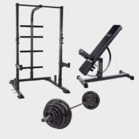 Ironmaster gympaket med half rack och träningsbänk.